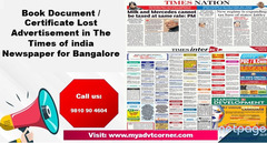 Times of India Bangalore Lost Found Advertisement