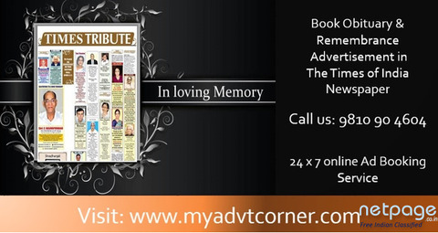 Avail Times of India Obituary Classified Advertisement