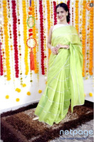 Buy Chanderi Cotton Silver Gota Work Sari Online